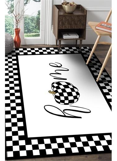 Frenda Frenda Home Dama Desenli Kaymaz Deri Taban Halı Beyaz